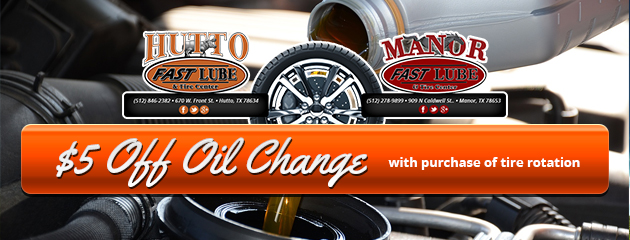 $5 off oil change with purchase of tire rotation