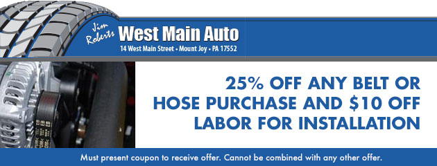 25% off any belt or hose purchase AND $10 off labor for installation