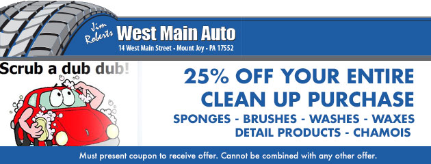 25% off your entire clean up purchase