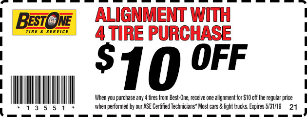 $10 Off Alignment With 4 Tire Purchase