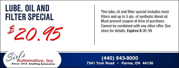 Lube, Oil and FIlter Special - $20.95