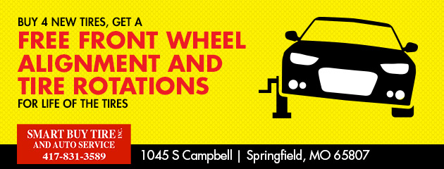 Buy 4 New Tires, get a free front wheel alignment and tire rotations for life of the tires
