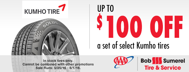 Up to $100 off a set of select Kumho tires