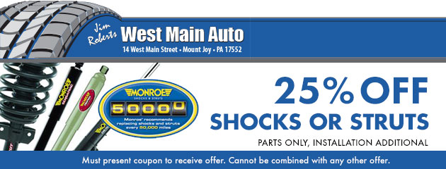 25% off shocks or struts