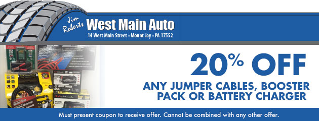 20% off any jumper cables, booster pack or battery charger