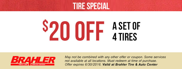 $20 Off A Set Of 4 Tires