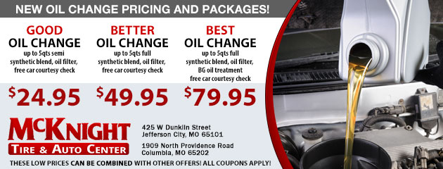 New Oil Change Pricing and Packages!
