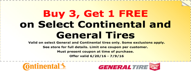 Buy 3, Get 1 FREE on select Continental and General tires!