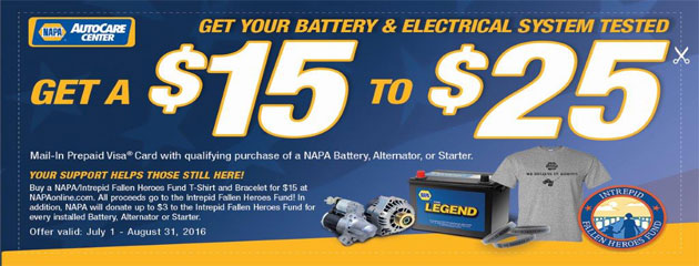Save $15 To $25 on qualifying NAPA Battery, Alternator or Starter