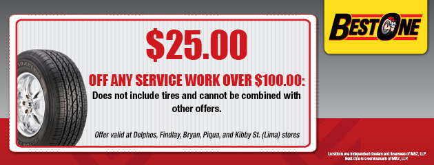 $25.00 Off Service Over $100 Coupon