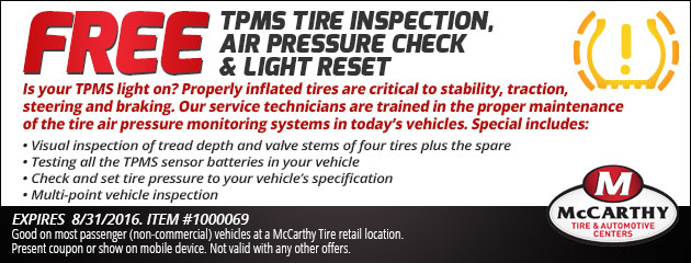 Free TPMS Light Inspection