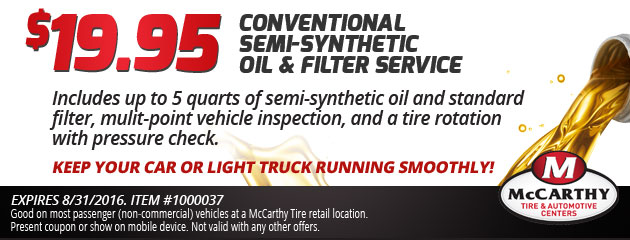 $19.95 Conventional Semi-Synthetic Oil Change