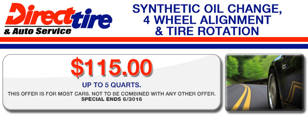 Synthetic Oil Change, 4 Wheel Alignment & Tire Rotation-$115.00