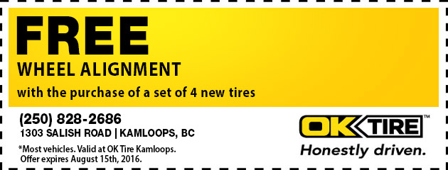 Free wheel alignment with the purchase of a set of 4 new tires