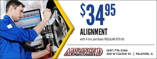 Alignment $34.95 with 4 tire purchase