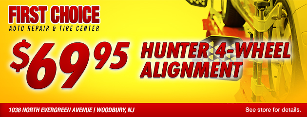 $69.95 Hunter 4-Wheel Alignment