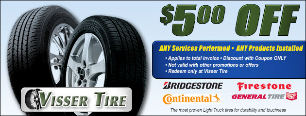 $5 OFF Tires, Service, and Products Coupon