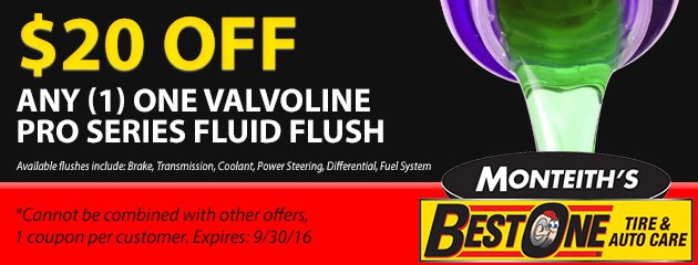$20 Off ANY (1) One Valvoline Pro Series Fluid Flush