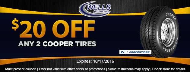 $20 OFF Any 2 Cooper Tires