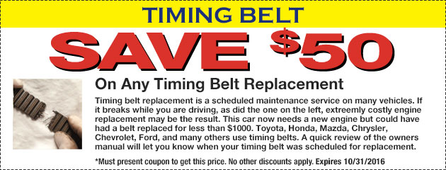 Save $50 On Any Timing Belt Replacement