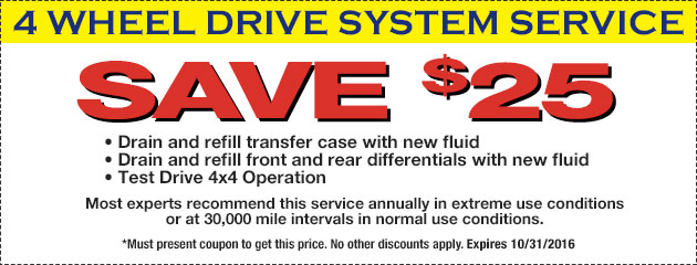 Save $25 On 4 Wheel Drive System Service
