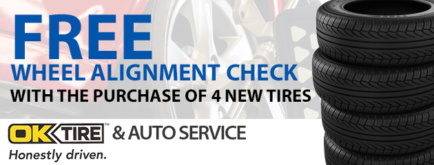 Free wheel alignment check with the purchase of 4 new tires