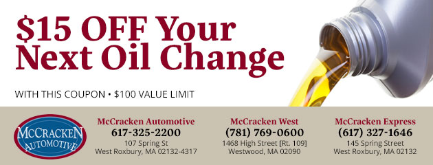 $15 OFF Your Next Oil Change