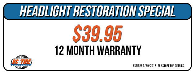 $39.95 Headlight Restoration Special