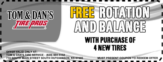 Free rotation and balance with purchase of 4 new tires