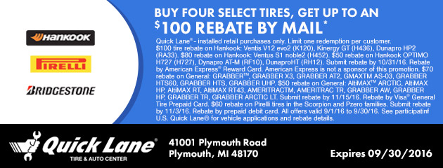 BUY FOUR SELECT TIRES, GET UP TO $100 IN MAIL-IN REBATE