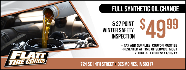 Full Synthetic Oil Change & 27 Point Winter Safety Inspection Special