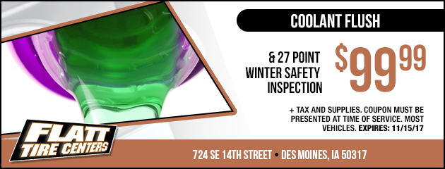 Coolant Flush & 27 Point Winter Safety Inspection Special