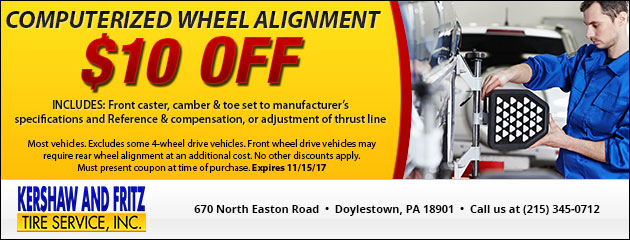 $10 OFF Computerized Wheel Alignment