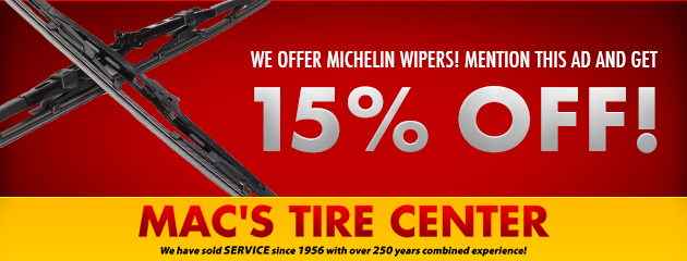 15% off Michelin Wipers!