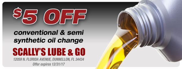 $5 off conventional & semi synthetic oil change