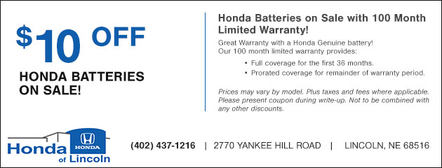 Honda Batteries on Sale - $10 Off