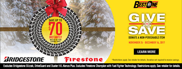 $70 Off Bridgestone Tires & $60 Off Firestone Tires