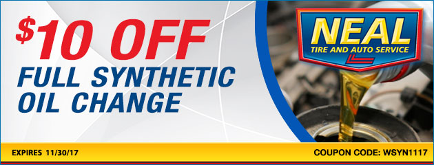 $10 dollars off full synthetic oil change