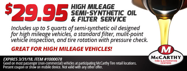 $29.95 High Mileage Semi-Synthetic Oil Service