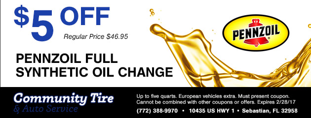 $10 Off Pennzoil Full Synthetic Oil Change