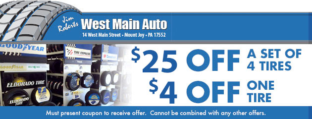 $25 off a set of 4 tires or $4 off one tire