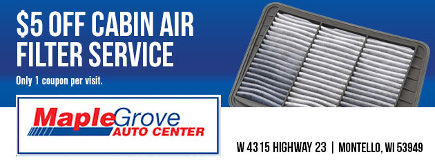 $5 off cabin air filter service