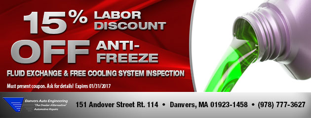 15% Labor Discount Off Anti-Freeze Fluid Exchange & Free CoolingSystem Inspection