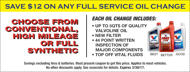 SAVE $12 ON ANY FULL SERVICE OIL CHANGE