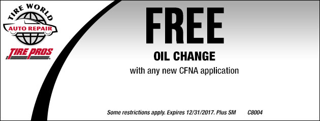 Free Oil Change with any new CFNA application
