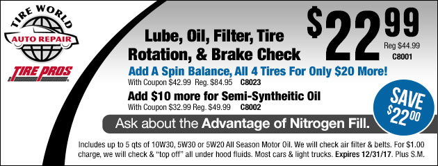 Lube, Oil, Filter, Tire Rotation & Brake Check Special