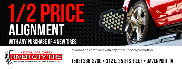 1/2 price alignment with any purchase of 4 new tires.