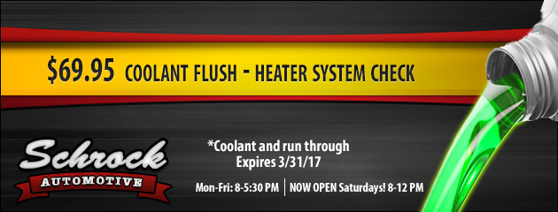 $69.95 Coolant Flush - Heater System Check