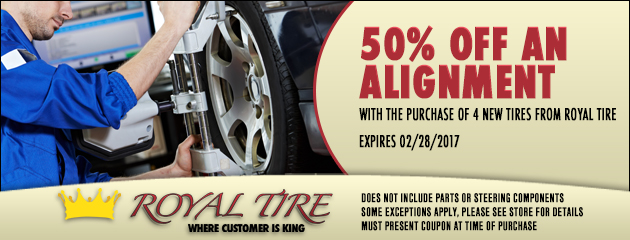 50% off an alignment with the Purchase of 4 New tires
