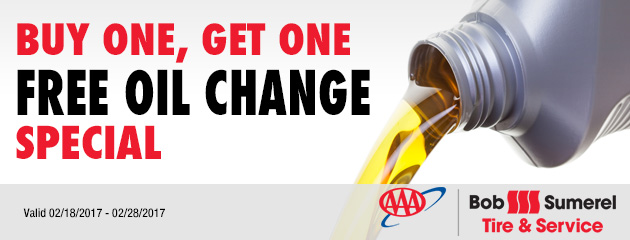 Buy One, Get One Free Oil Change special